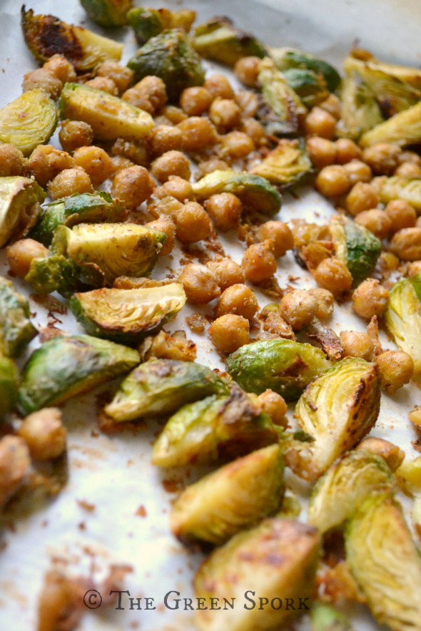 Roasted brussels and chickpeas