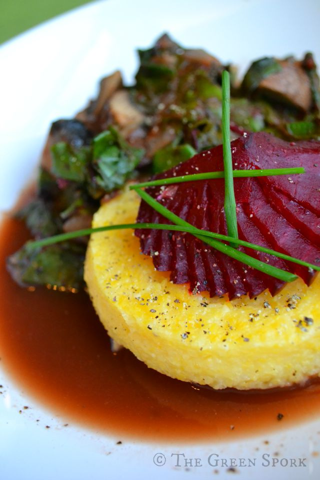 Polenta with Beets and greens